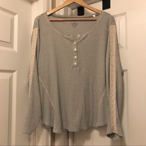 Sonoma Tops - Lace accented henley thermal